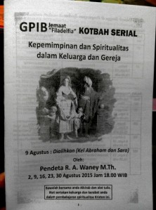Pengumuman khotbah serial Pdt. R. A. Waney, M.Th